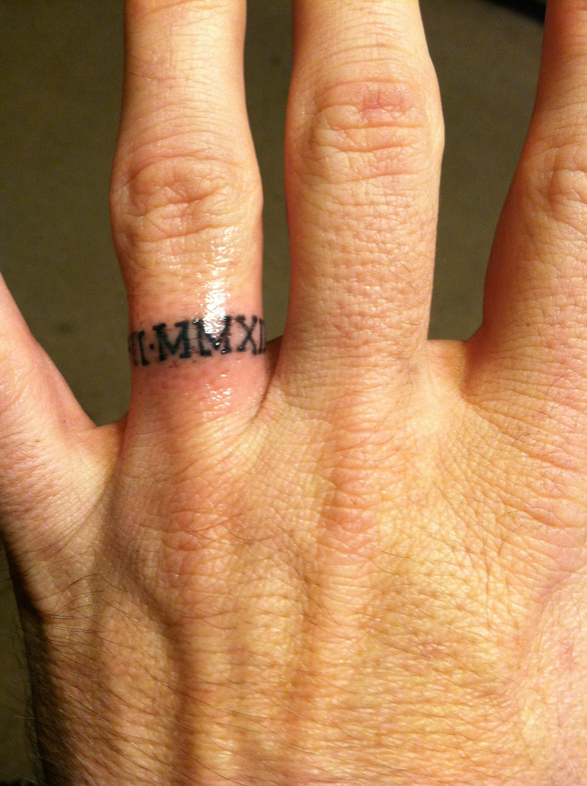 Anniversary in roman numerals ink ed pinterest for Roman numerals tattoo on finger