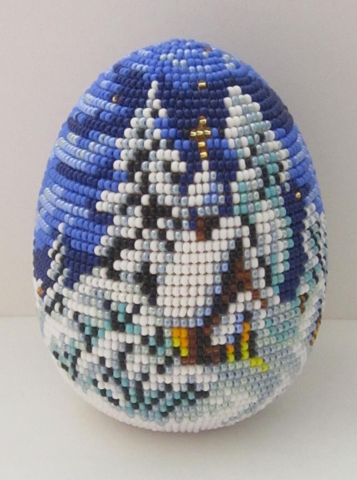 Схема для яйца из бисера лебедь