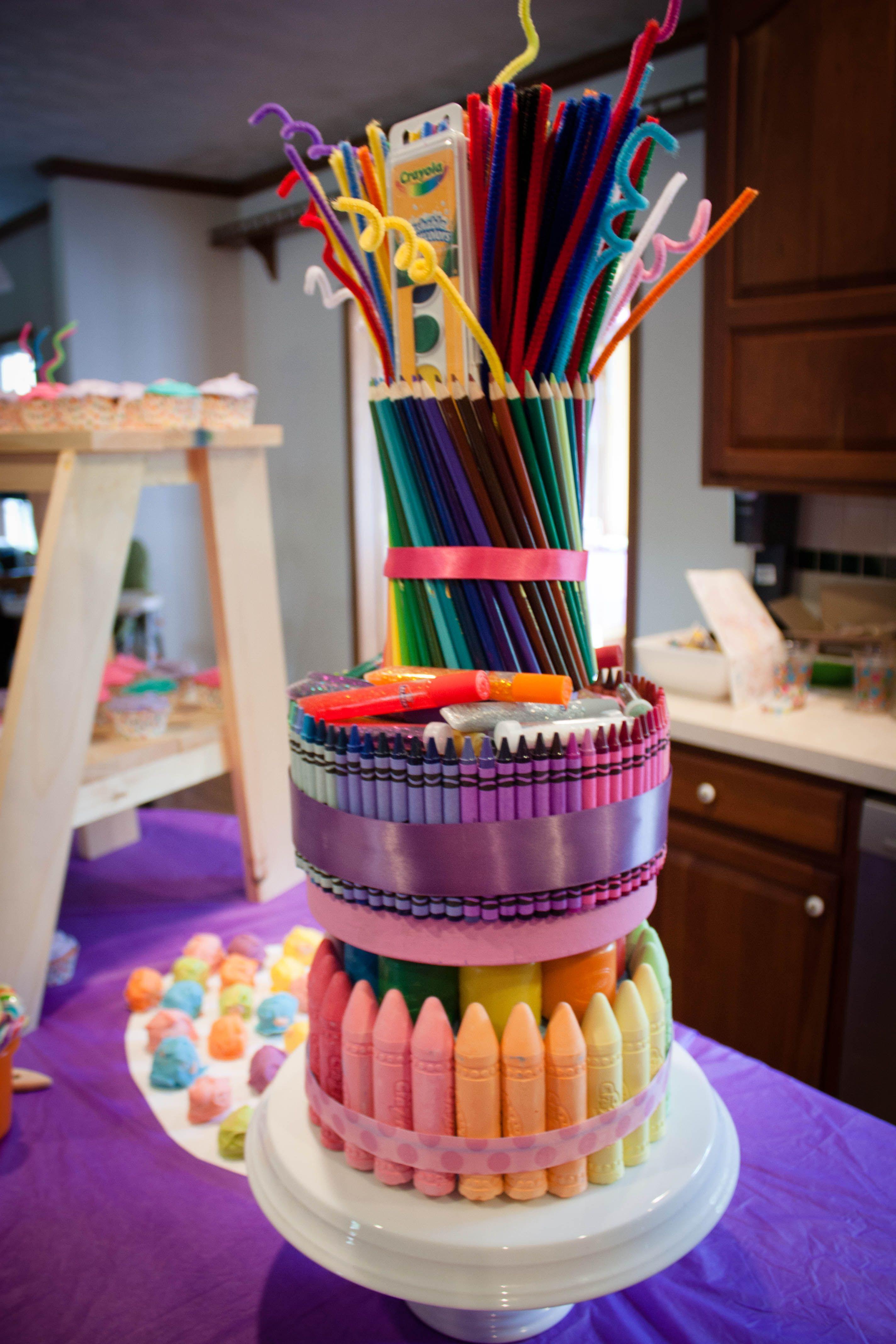 Art supply cake centerpiece My Style Pinterest