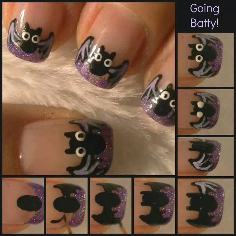 Halloween bat nails | Awesome clothes/hair/jewelry/nails etc. | Pinte ...