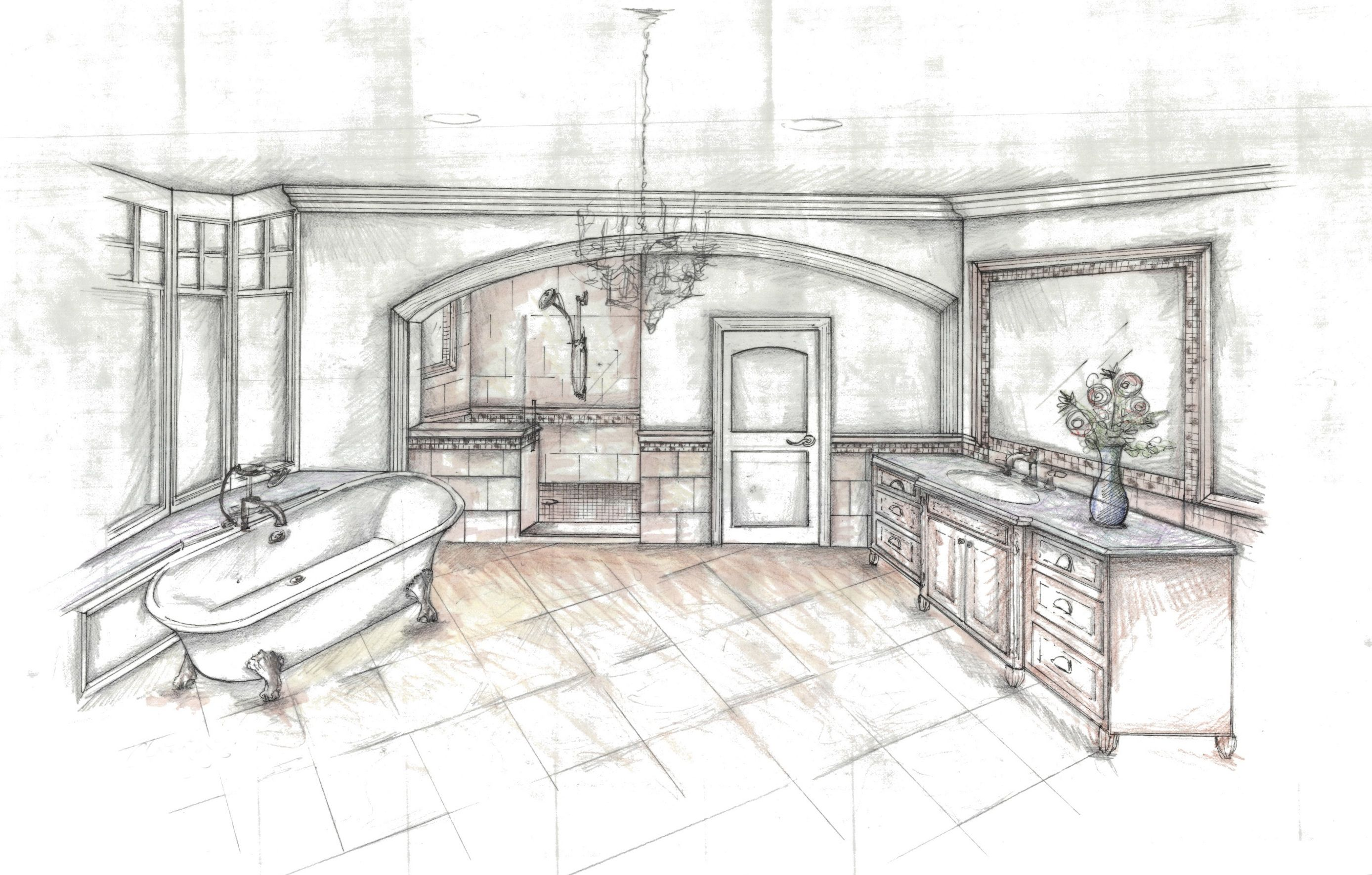 Bathroom Sketch Bathrooms Pinterest