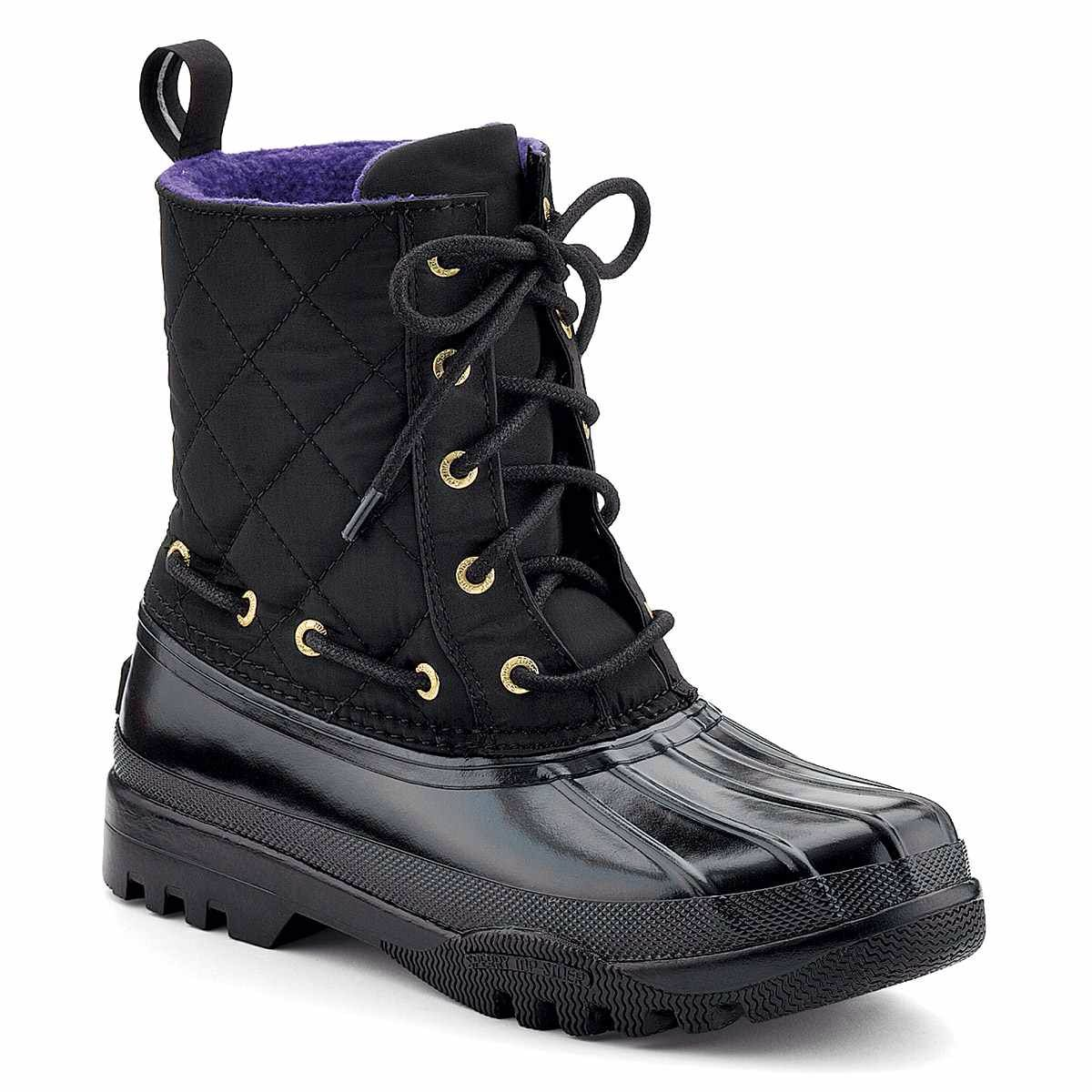 Simple Sperry Womens Saltwater Misty Plaid Duck Boots In BlackTan Stay Dry And Keep Exploring The Saltwater Misty Plaid Duck Boot Features A Premium Leather Shaft With Matte Rubber Duck Shell, Cozy Microfleeced Lining For Added
