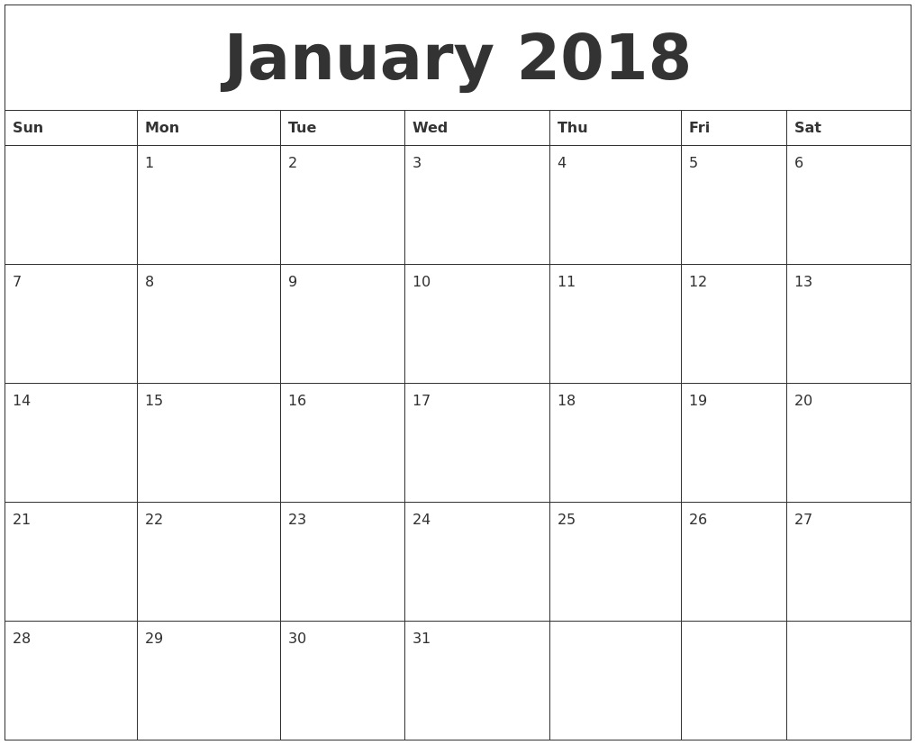 January 2018 Calendar Cute | Calendar | Pinterest | January ...