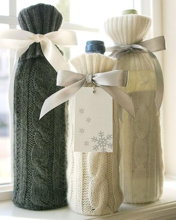 Would be fun to make these for wine/beer bottles. knit, bottle, winter Sewi...