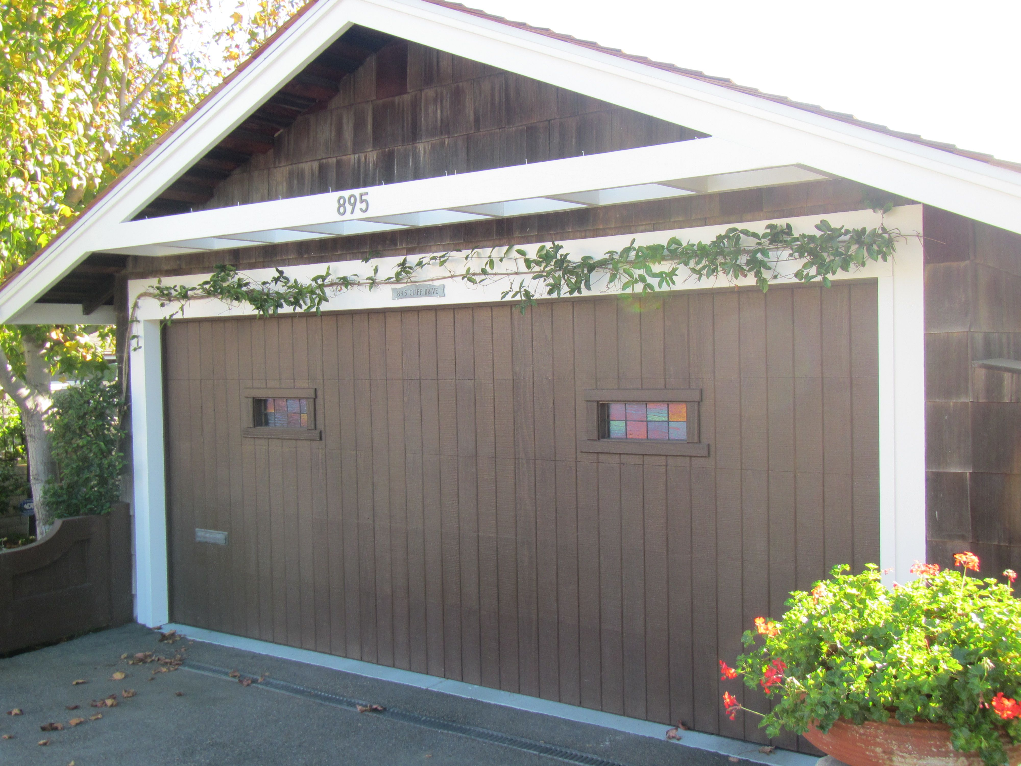 Garage Door With Stained Glass Trellis Shut The Front
