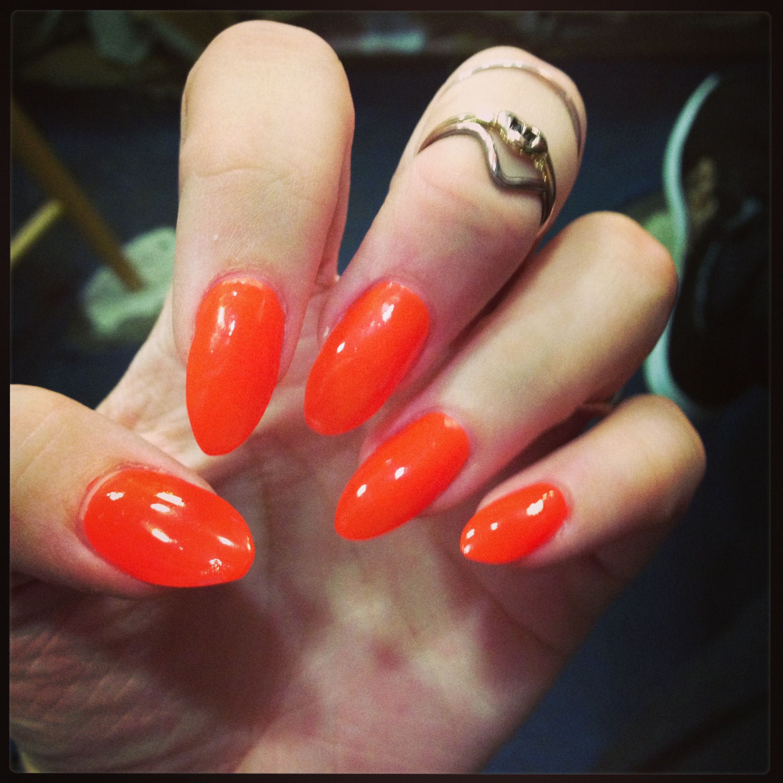 neon orange stiletto nails makeup nails pinterest