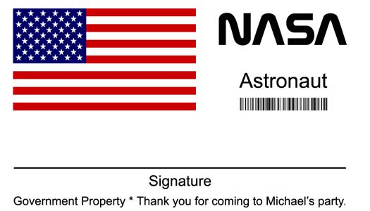 nasa name badge pics about space. Black Bedroom Furniture Sets. Home Design Ideas
