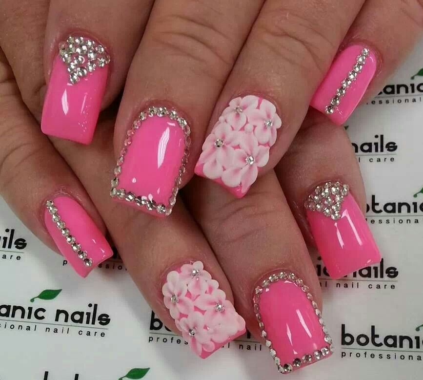 Hot Nail Designs: Hot Pink Dazzling Nails & Pretty Flowers