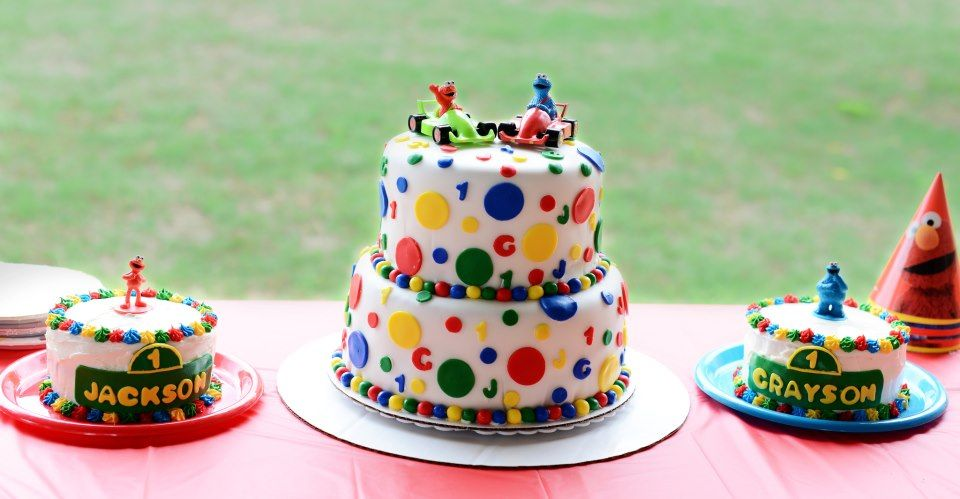 Cake Ideas For Twins First Birthday : Twins 1st Birthday Sesame Street cakes twins first ...