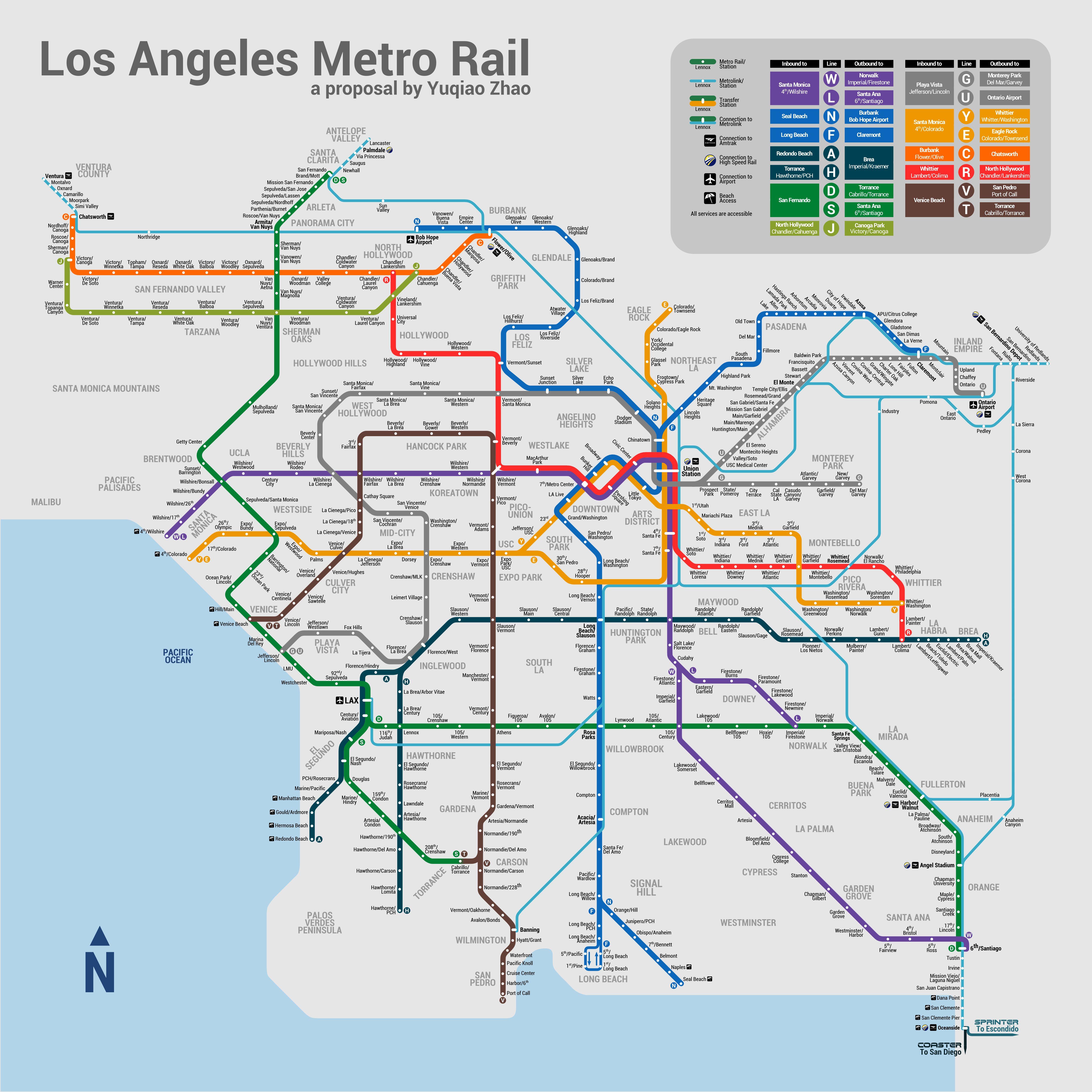 Los Angeles Metro Fantasy Map Metro Rail Los Angeles