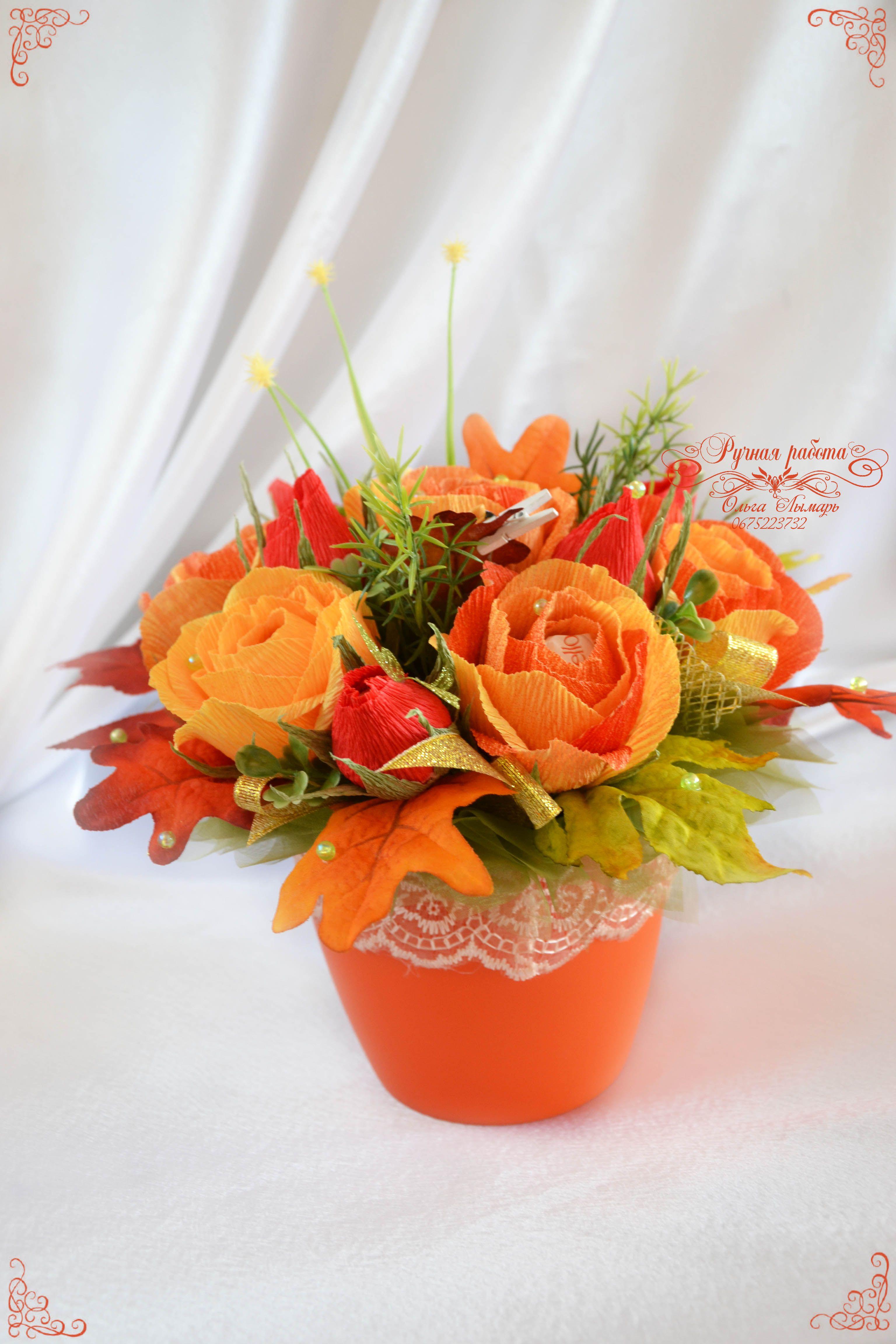 Цветы в горшке из конфет своими руками 29