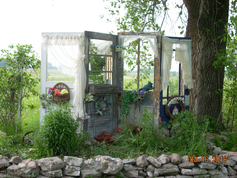 backyard old doors fence landscaping unique garden ideas