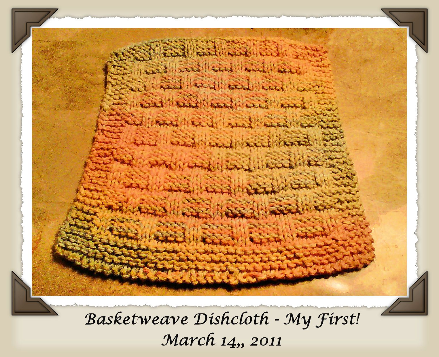 My first dishcloth.... and I was so proud, hehe. Beginner knitting ...