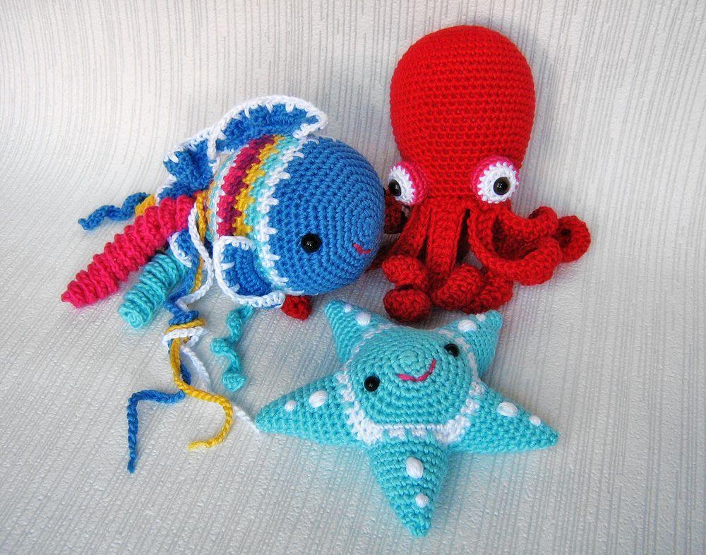 Knitted Amigurumi Sea Creatures : Crocheted Sea Animals. Amigurumi. Crochet Pinterest