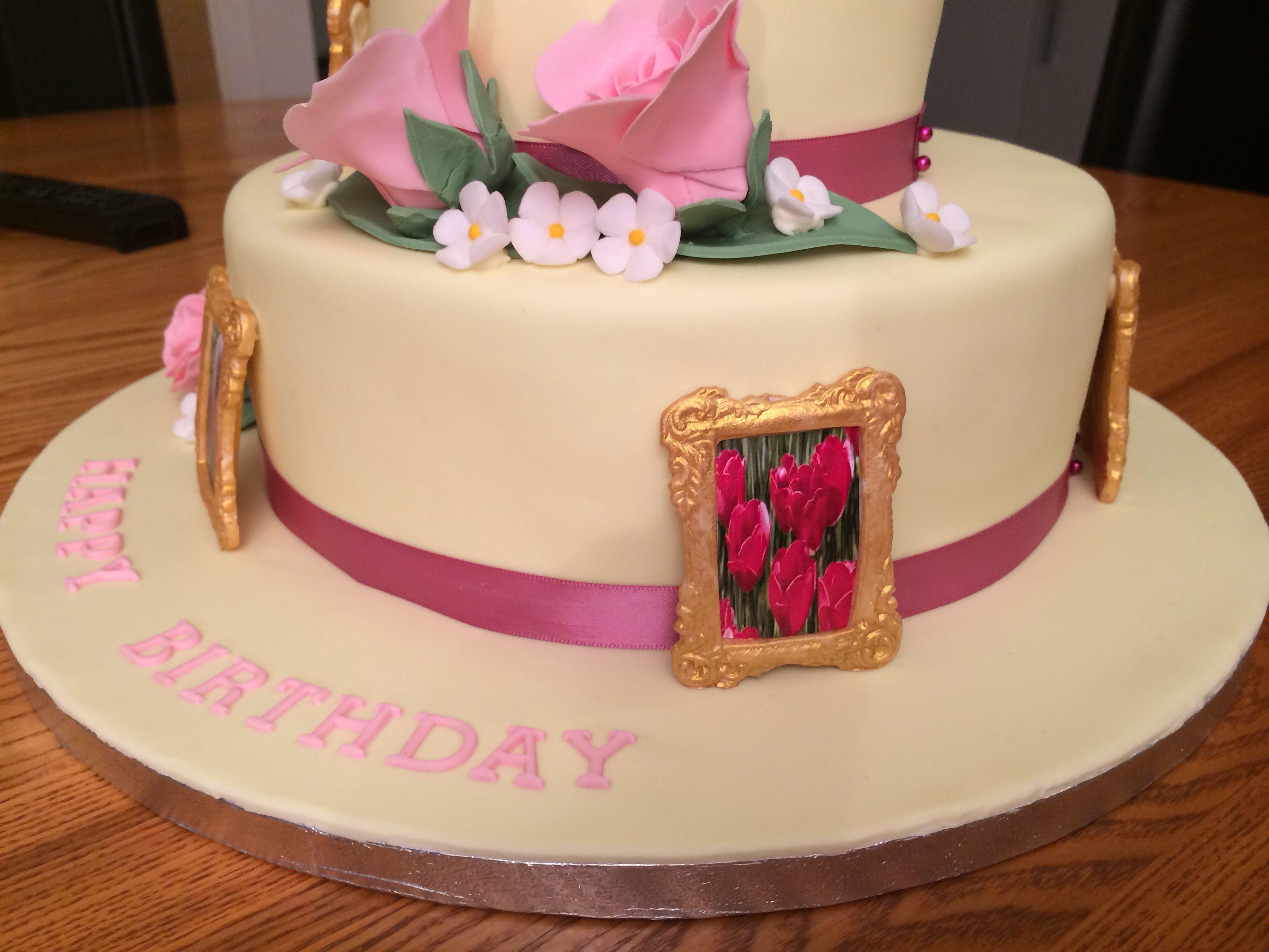 90th Birthday Cake with Photo Frames cakes Pinterest