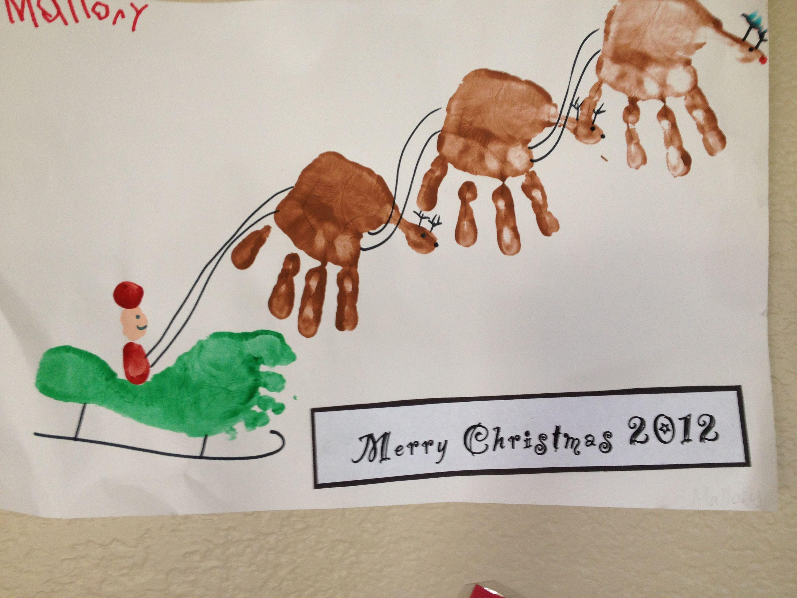 Santa Sleigh   Handprint Footprint Art   Pinterest