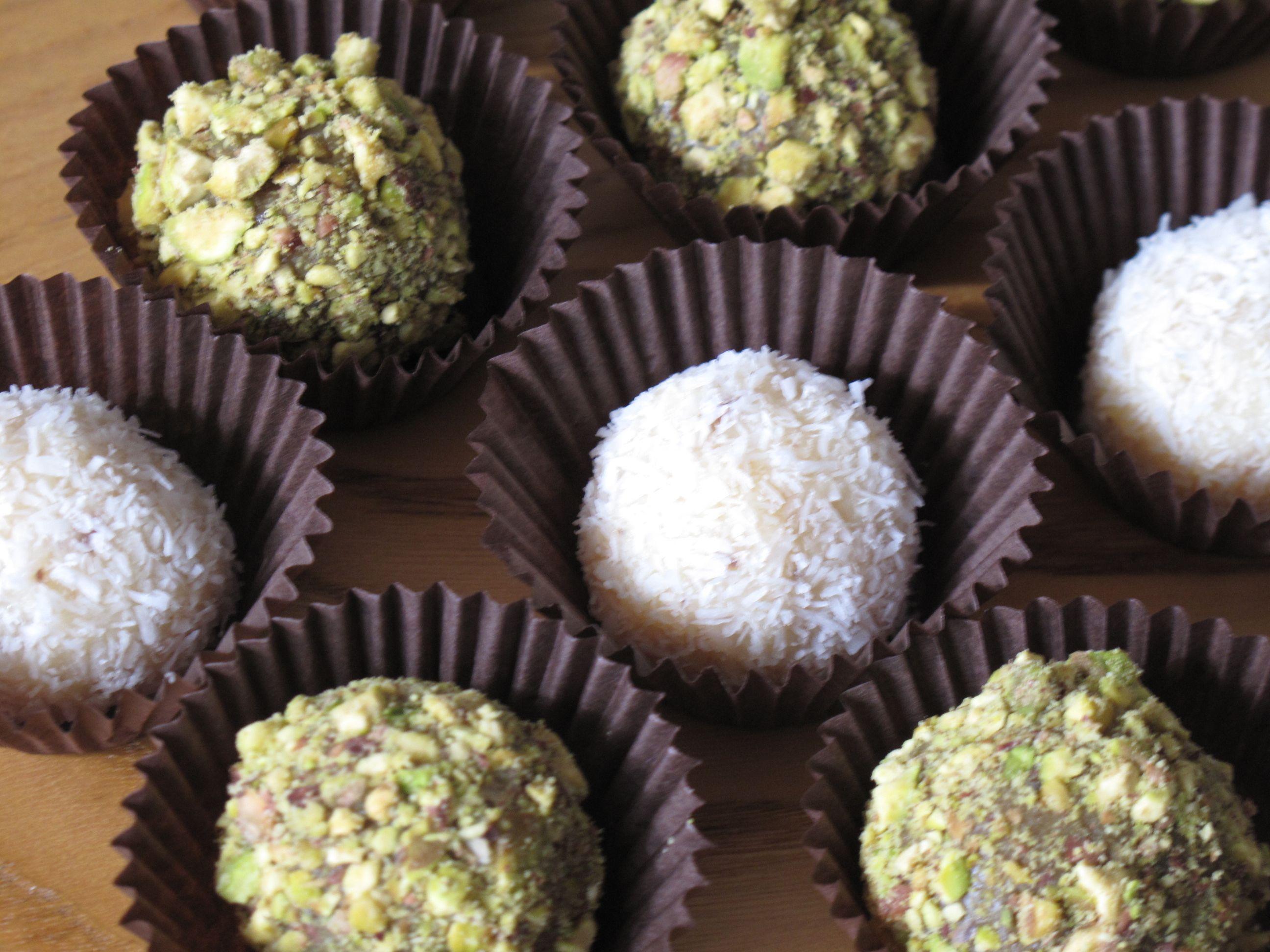 Coconut & pistachio brigadeiros | Food | Pinterest