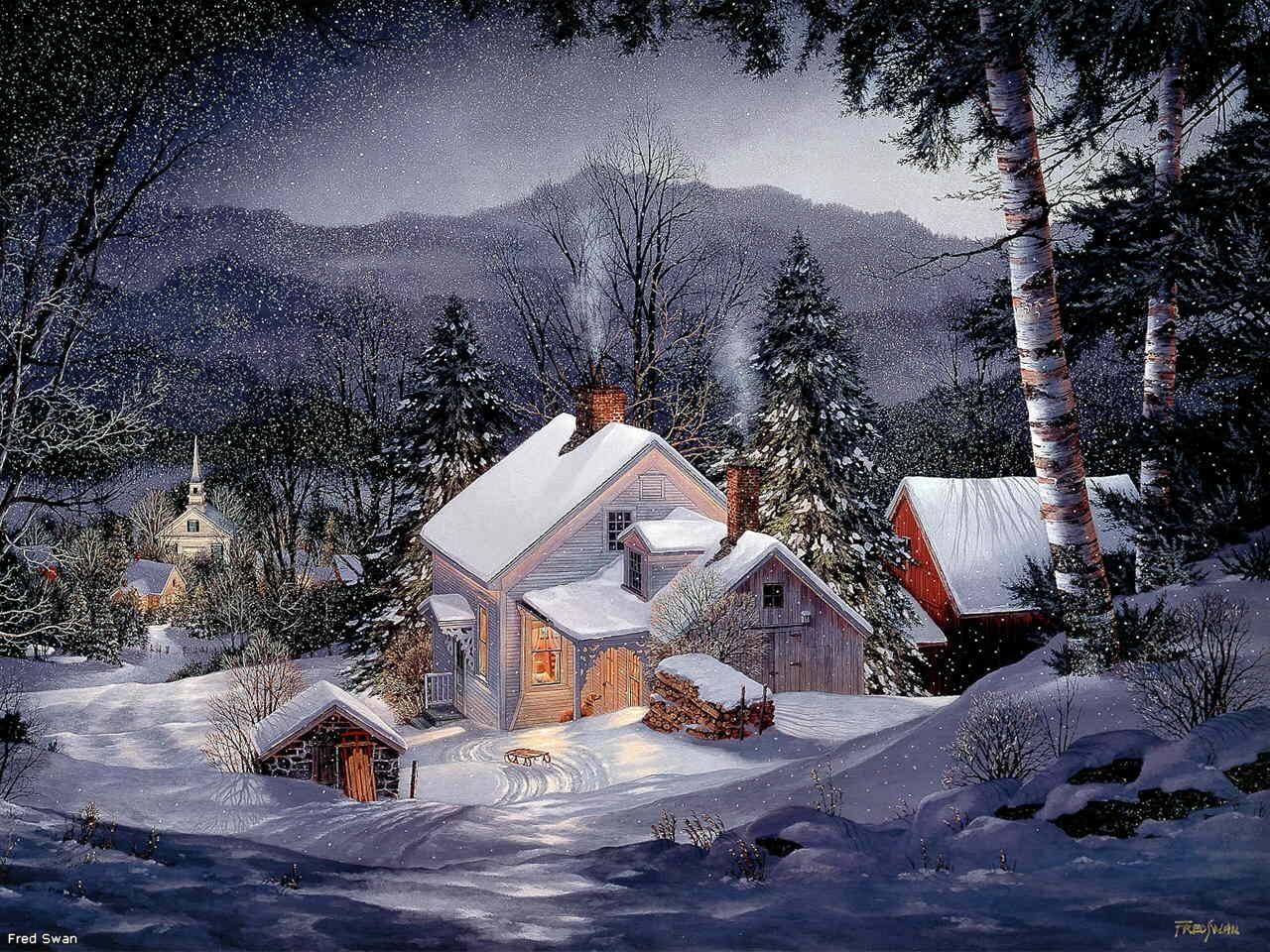 Зимние пейзажи новый год картинки 3