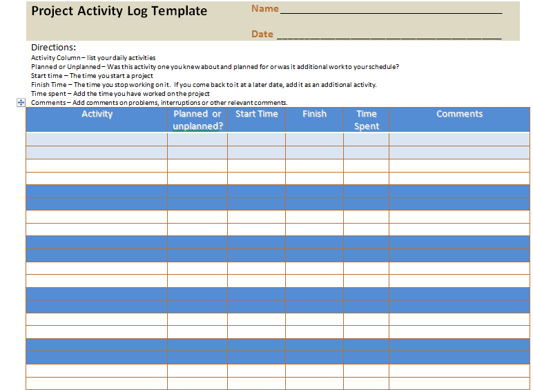 Project Activity Log Excel Template – Project Management Templates ...