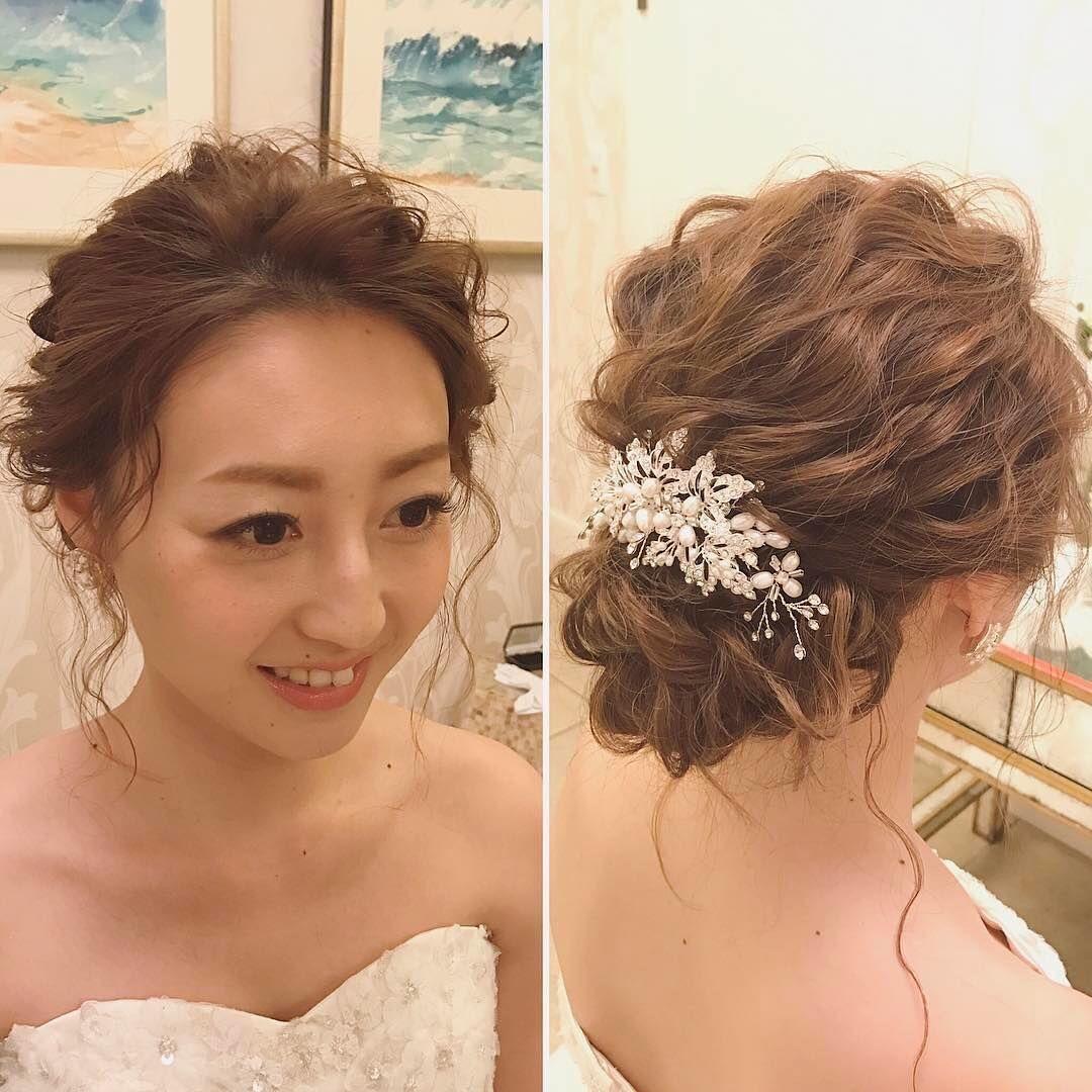 結婚式 髪型 編み込み 前髪なし