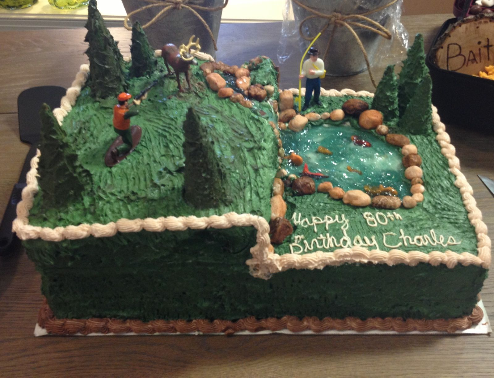 Hunting fishing cake custom cakes pinterest for Fishing cake ideas