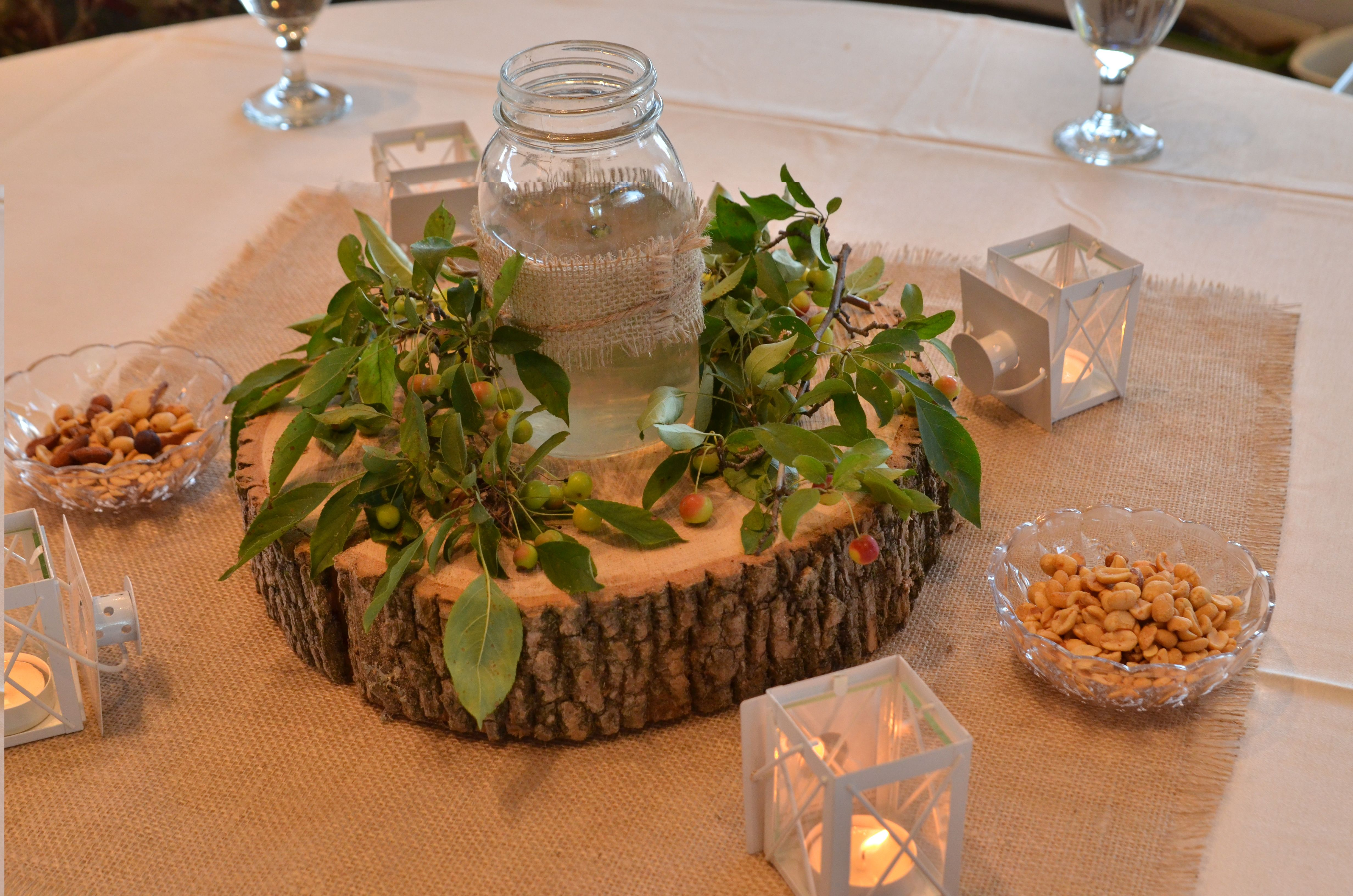 Rustic Candle Centerpieces For Wedding : Rustic candle centerpiece winter wedding pinterest