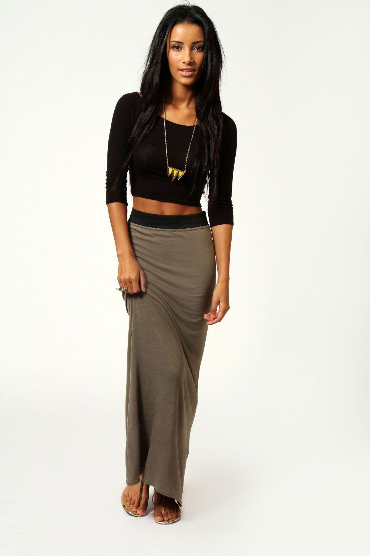 helena contrast waistband jersey maxi skirt