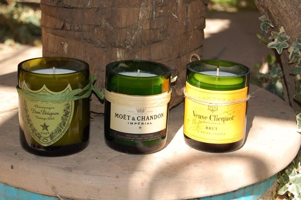 Candles out of recycled wine bottles | Ideas | Pinterest