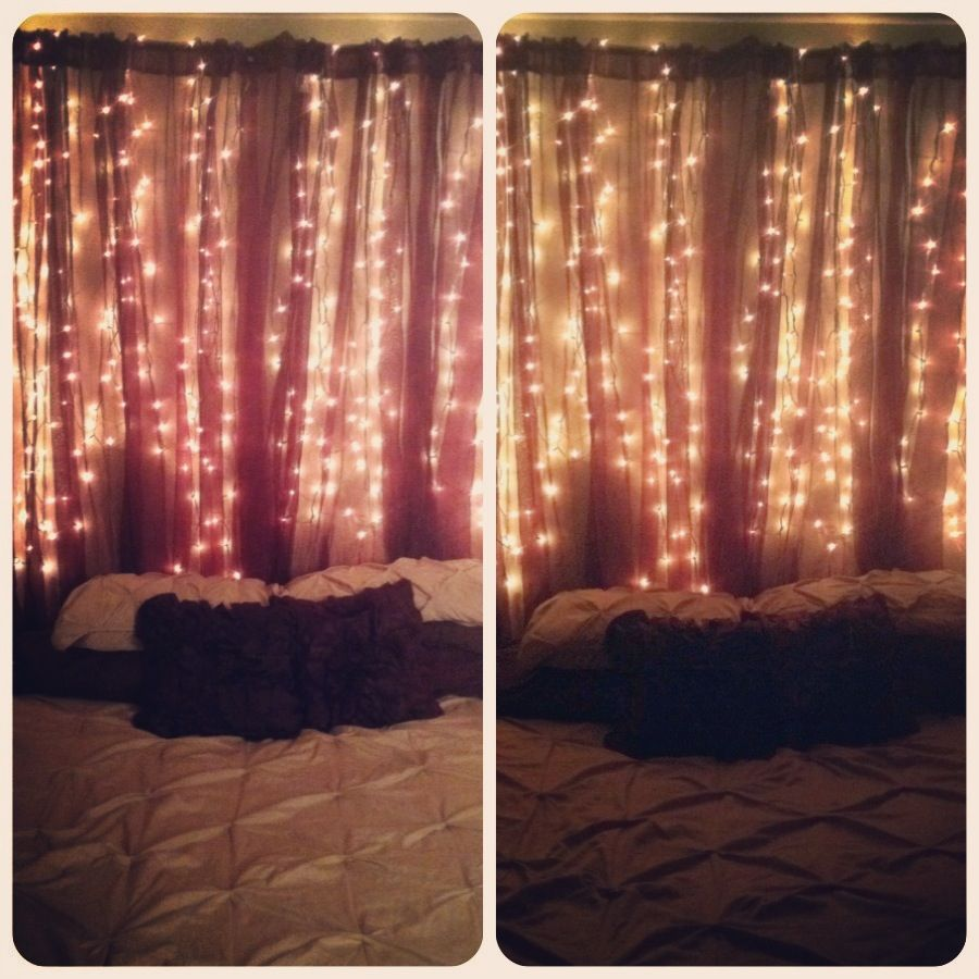 Christmas light headboard | Cool Home Ideas | Pinterest