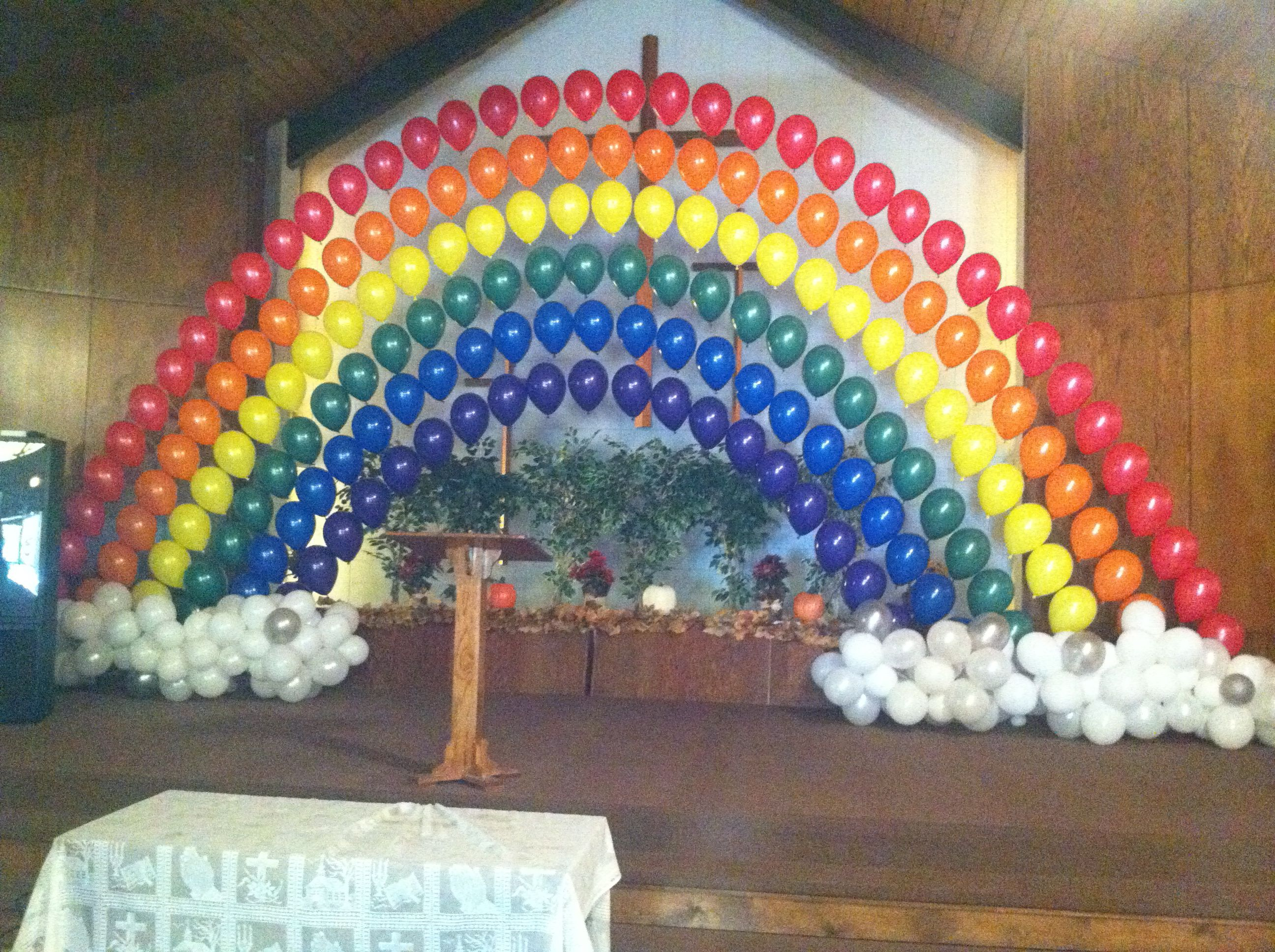 Rainbow balloon arch balloon arches decoration pinterest for Balloon decoration arches