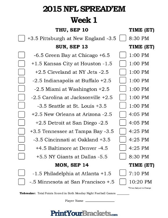 picture about Nfl Week 8 Printable Schedule titled Nfl options 7 days 1 2018 printable