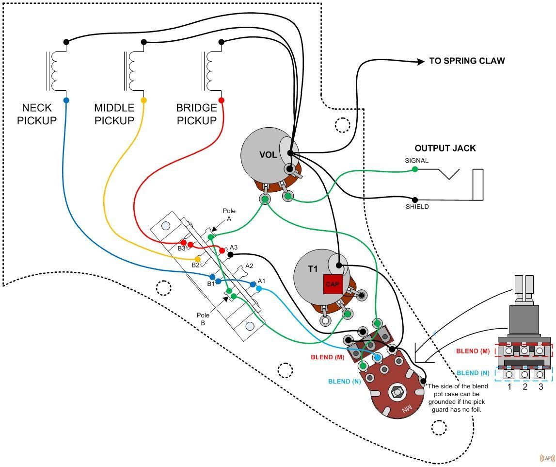 Схема распайки звукоснимателей стратокастера