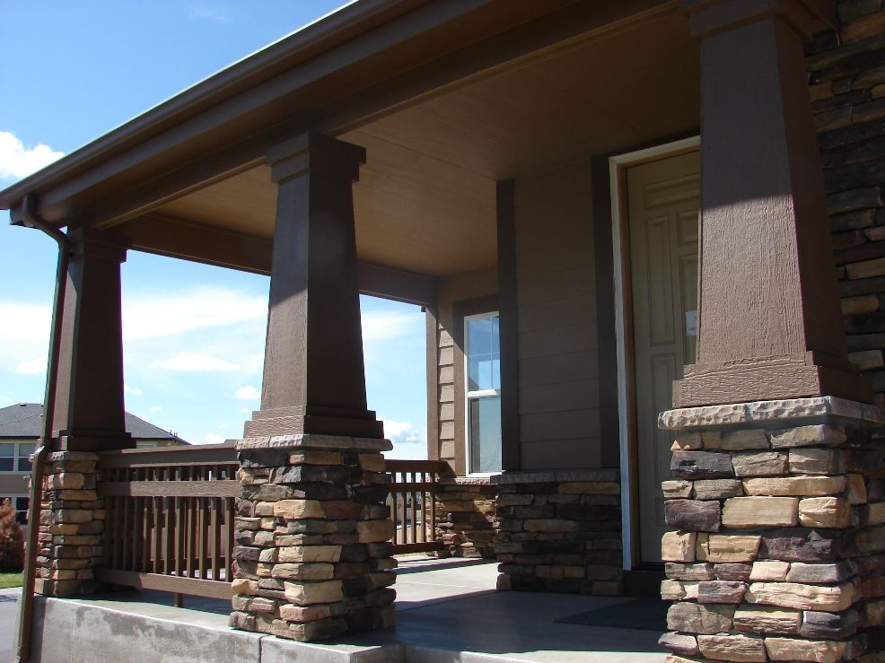 Stone front porch pillars house pretty pinterest for Balcony underside