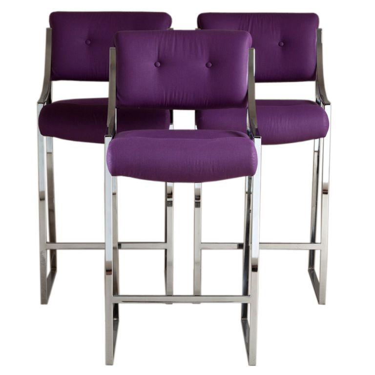 Purple And Chrome Bar Stools Talisman Barstools