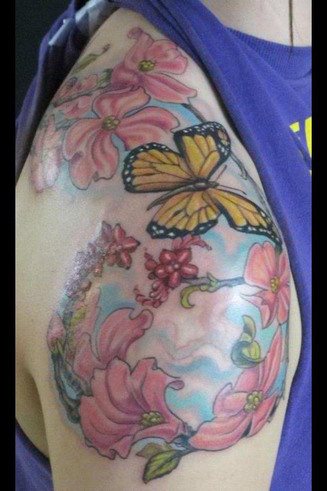 Dogwood tree butterfly tattoo tattoos pinterest