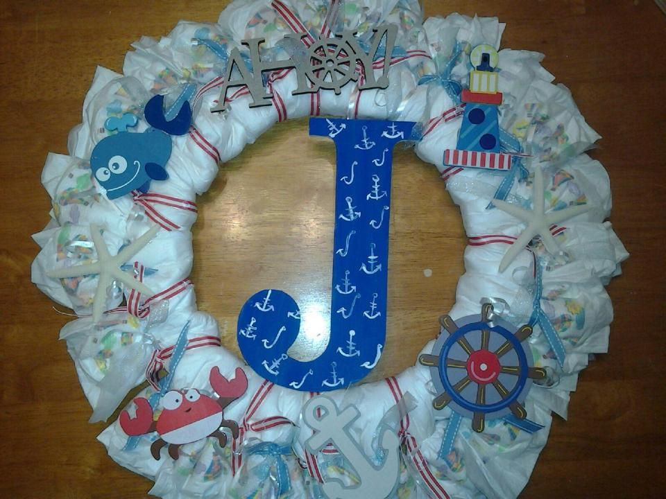 baby boy diaper wreath nautical blue baby shower ideas pinterest