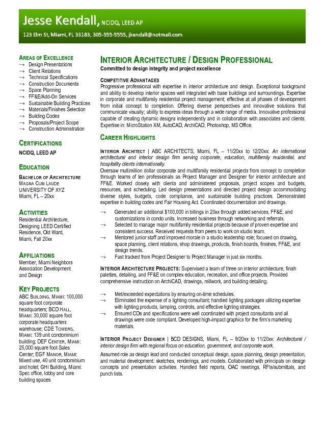 resume format for architect freshers