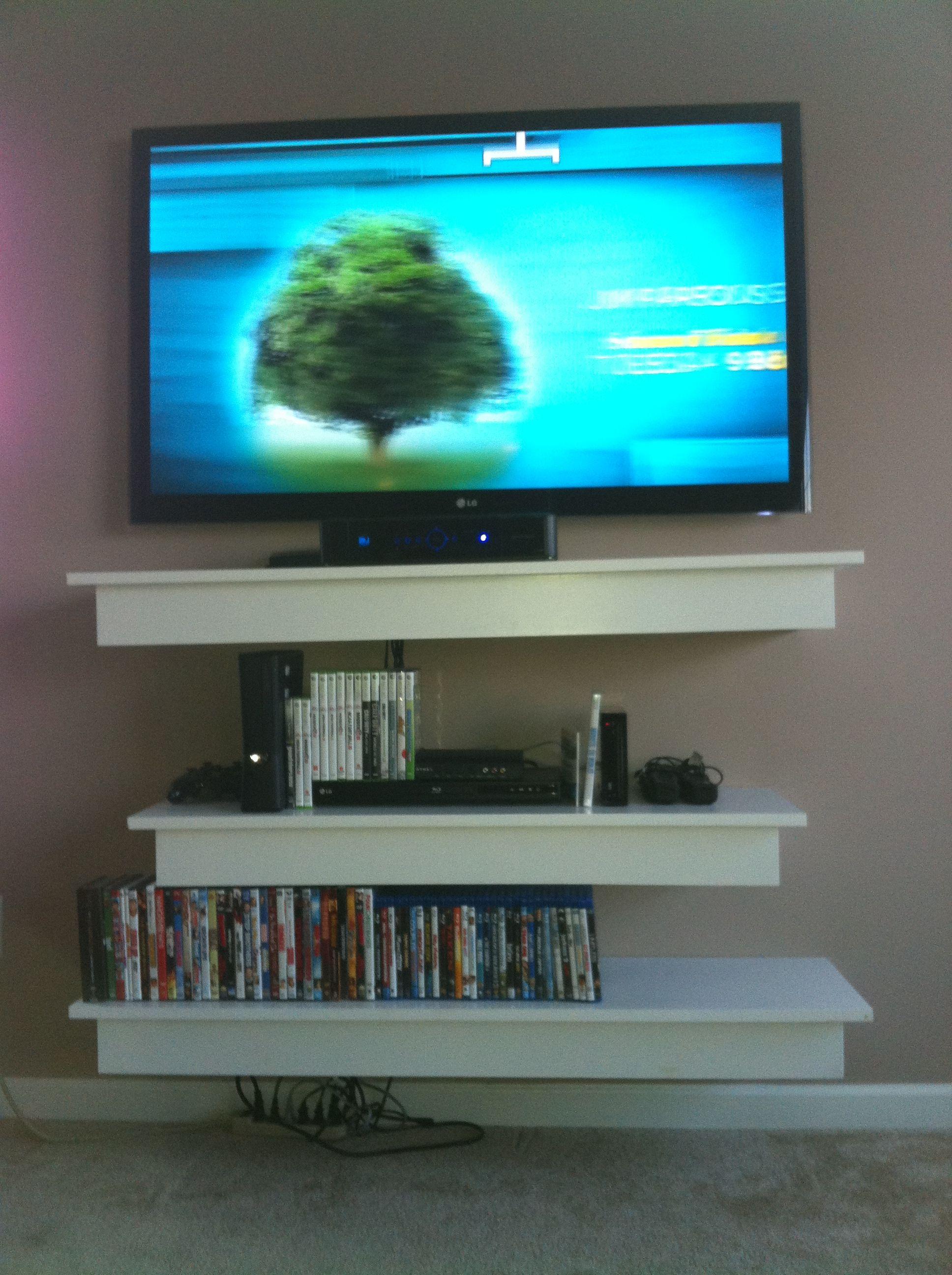 diy floating shelves under tv home decor pinterest. Black Bedroom Furniture Sets. Home Design Ideas