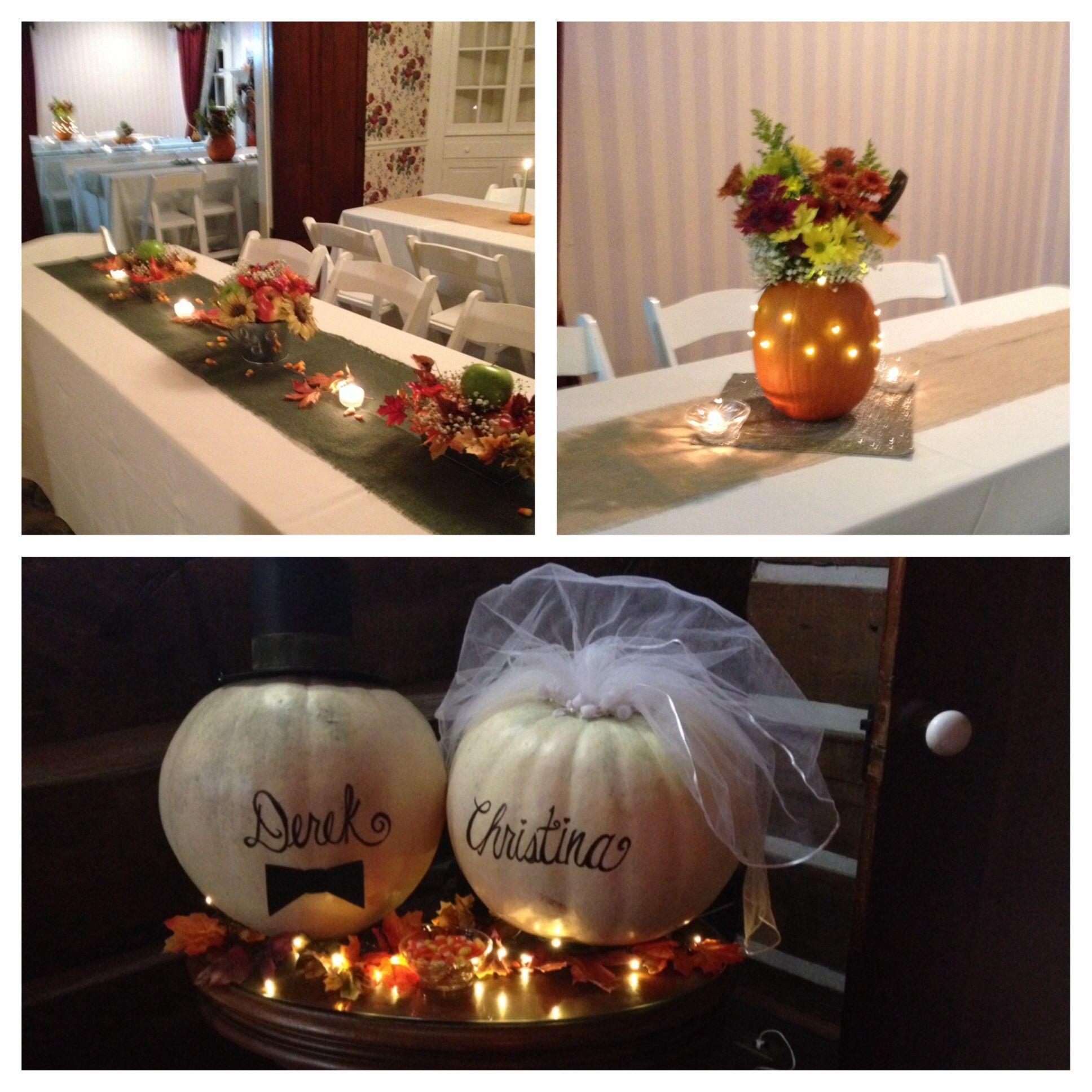 Fall rehearsal dinner decor wedding shannon pinterest for Wedding dinner table decoration ideas
