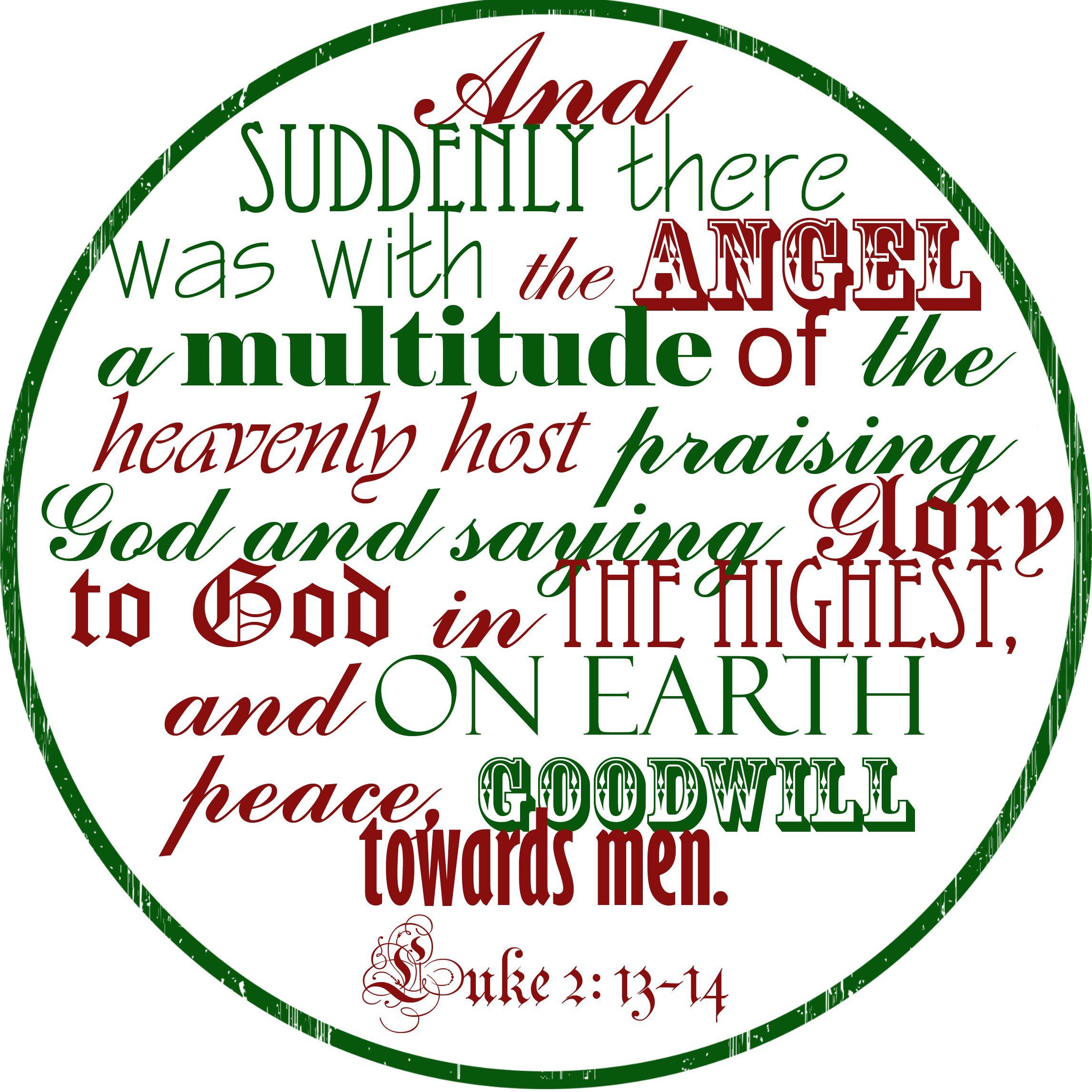 Christmas printable - Luke 2: 13-14   Christmas   Pinterest