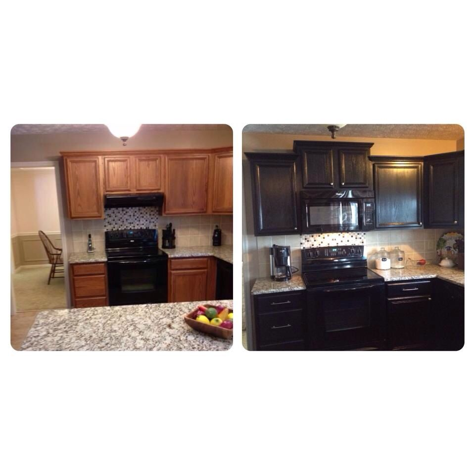Kitchen remodel painted black cabinets do it yourself for Do it yourself kitchen cabinets