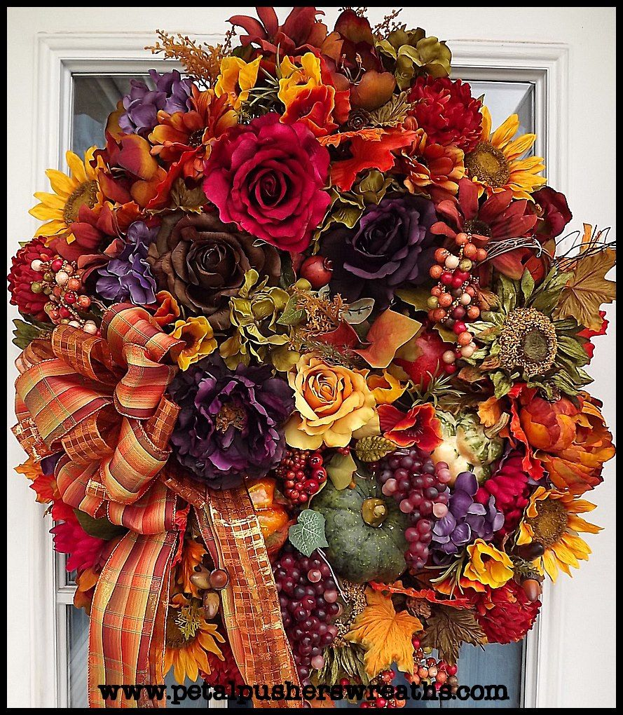 Autumn joy fall decorative wreath a front door for Fall autumn door wreaths