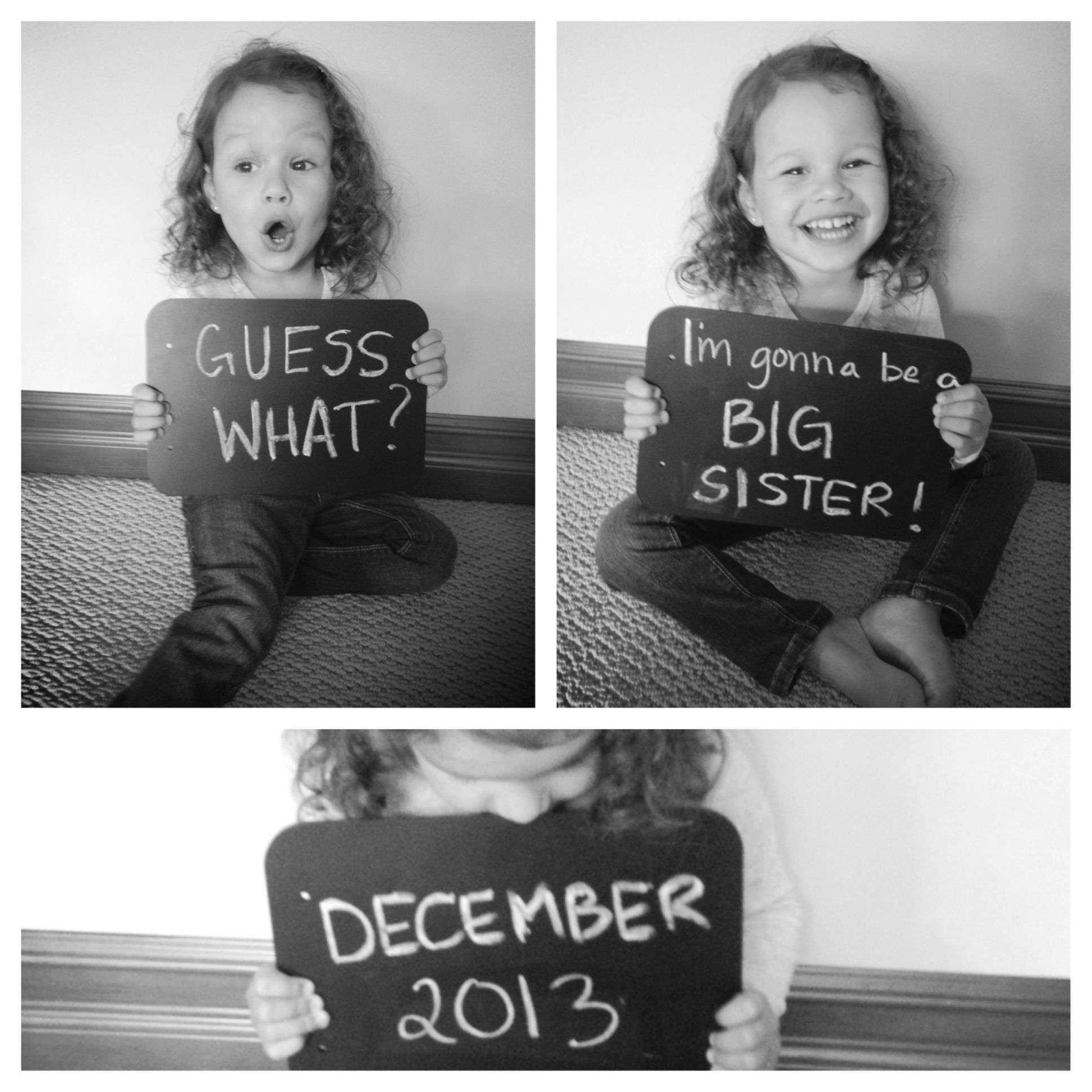 Our pregnancy announcement by big sister we re prego 2014 pint