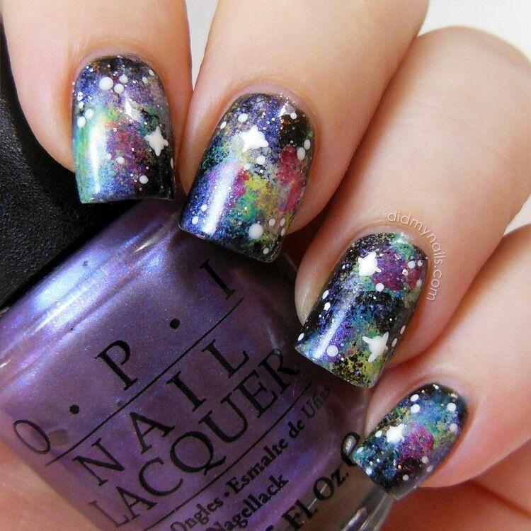 Galaxy nail art  Beauty  Pinterest
