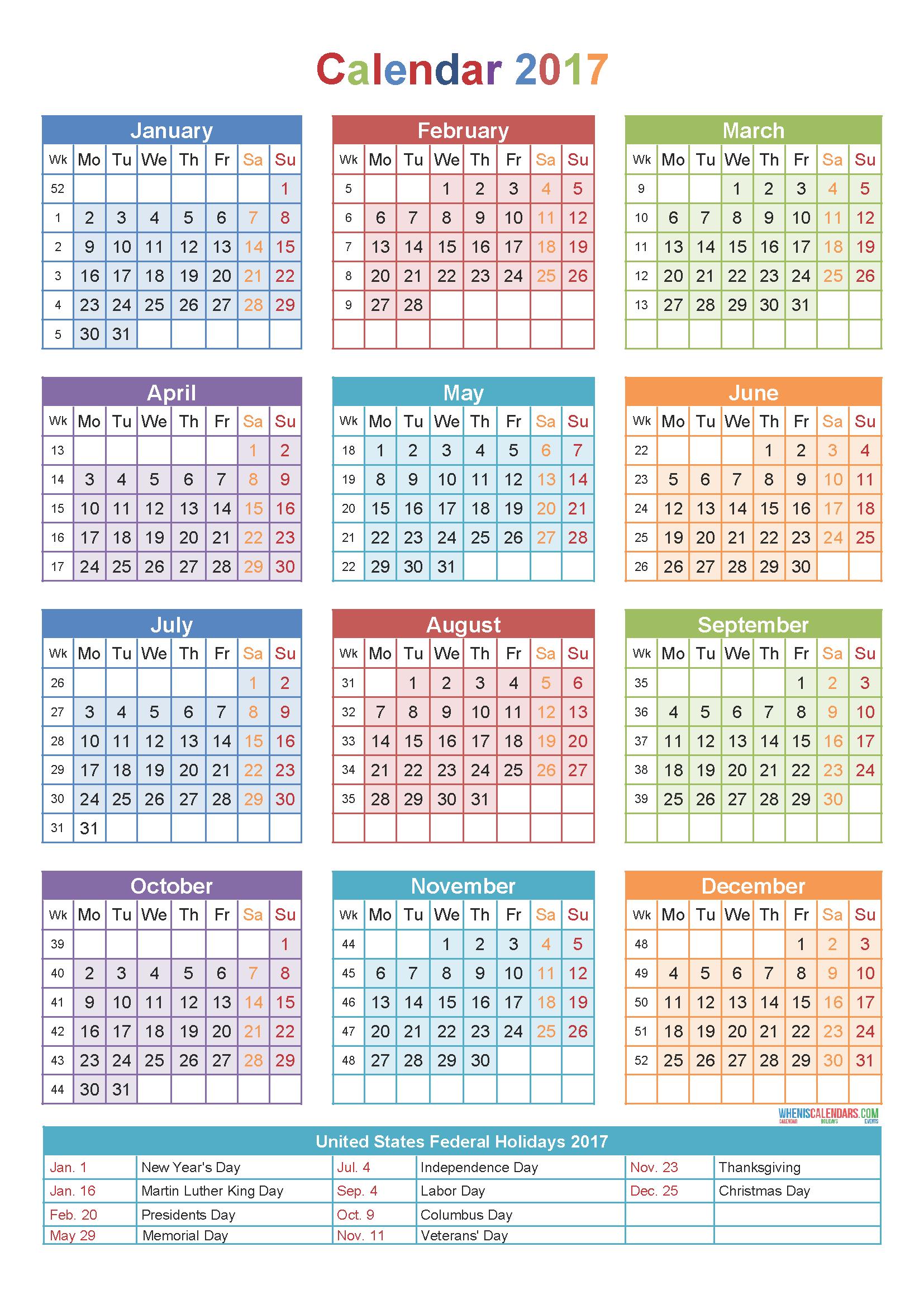calendar 2017 by week number | Holidays | Pinterest | Calendar ...