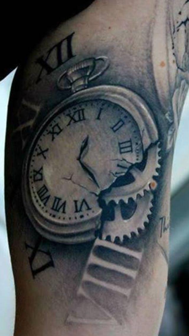 Cool Pocket Watch Tattoo Body Canvas Pinterest