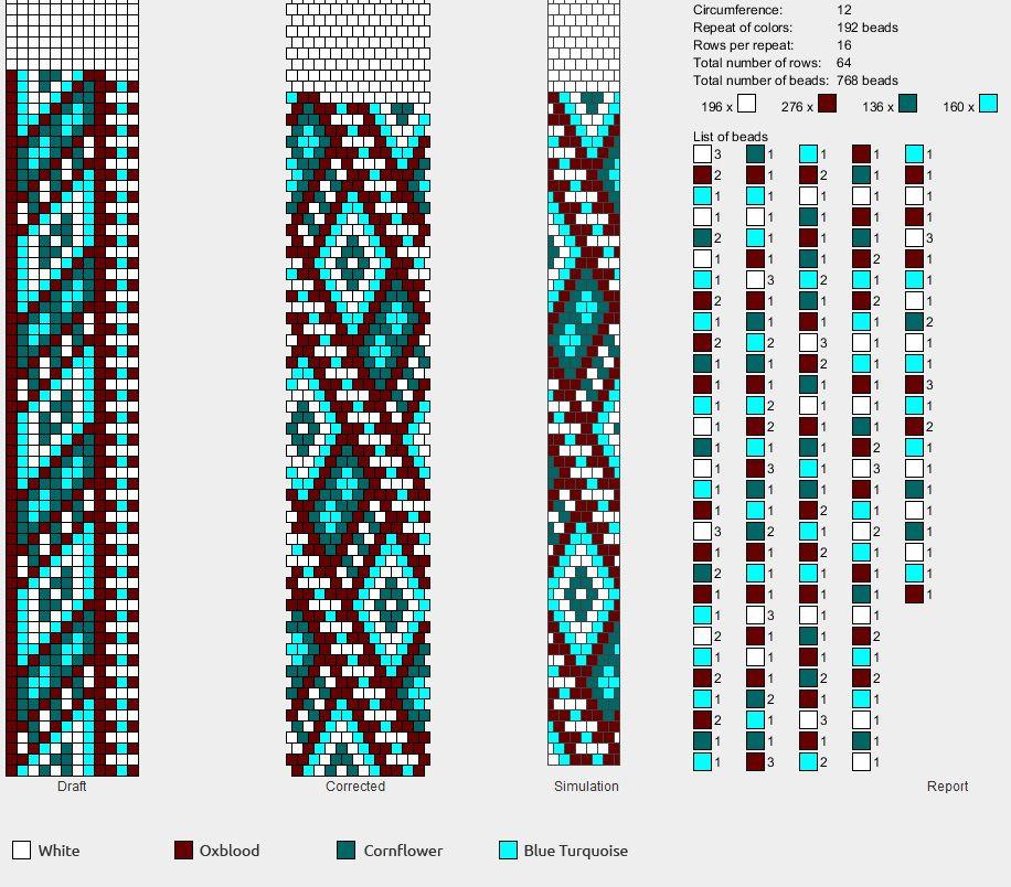Набрать схему вязания бисером жгута