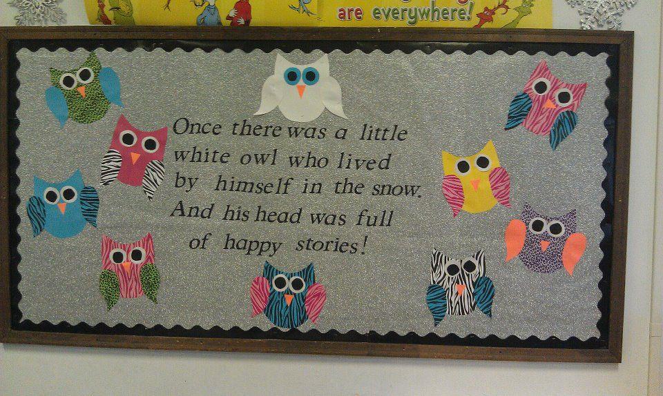 Classroom Bulletin Board Ideas With Owls ~ Quot the little white owl bulletin board owls pinterest