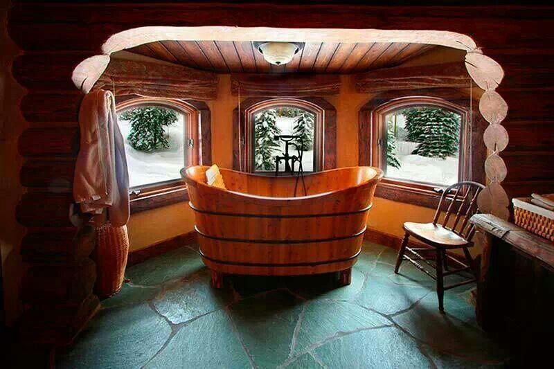 Log home bathroom log homes pinterest for Log cabins with bathrooms