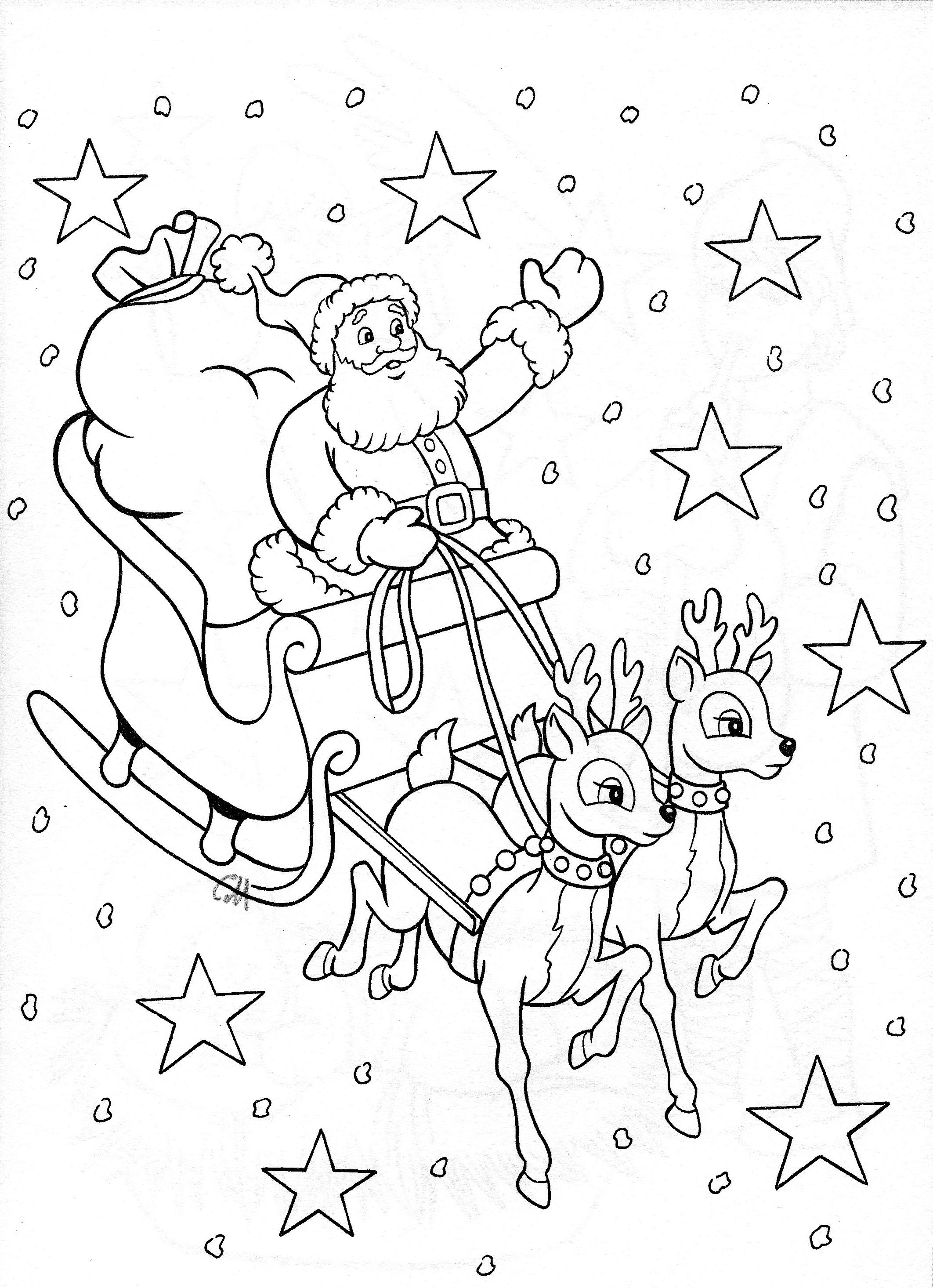 christmas santa sleigh coloring pages - photo#12